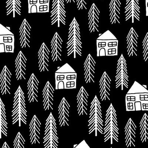 Forest Cabin - Black and White by Andrea Lauren