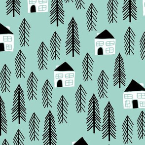 Forest Cabin - Pale Turquoise by Andrea Lauren