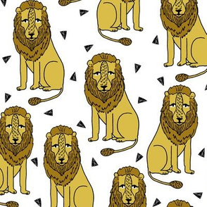 Sitting Lion - Mustard by Andrea Lauren
