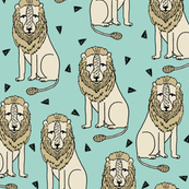 Sitting Lion - Pale Turquoise by Andrea Lauren