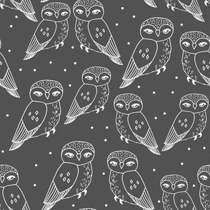 owl // charcoal grey owl illustration featuring sweet little owls hand-drawn by Andrea Lauren