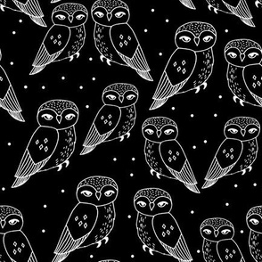 Owls - Black and White by Andrea Lauren