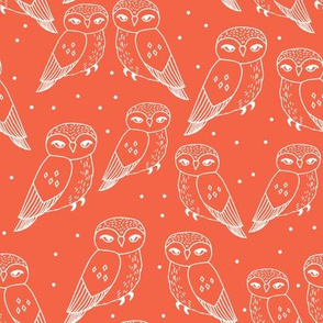 owls // owl bird hand-drawn illustration coral orange seamless repeat pattern