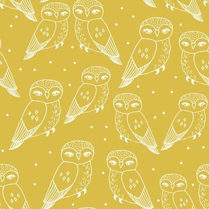 Owls - Mustard by Andrea Lauren