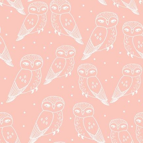 Owls - Pale Pink by Andrea Lauren