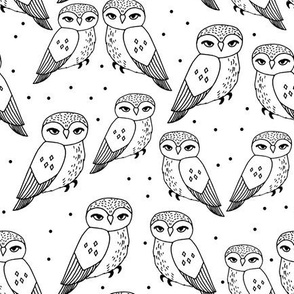 owls // black and white owls hand-drawn simple owl design by Andrea Lauren