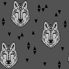 wolf // charcoal  grey wolf kids triangles animals animal head wolves fabric for boys room