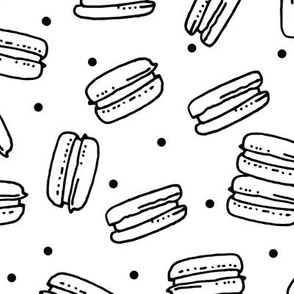 macaron // sweet fabric sweets black and white bakery tea and coffee french macaron fabric