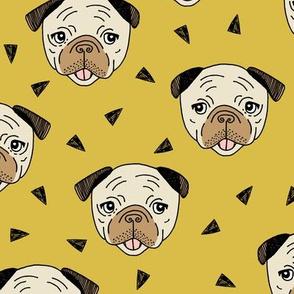 Pugs - Mustard by Andrea Lauren