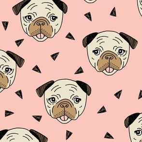 Pugs - Pale Pink by Andrea Lauren