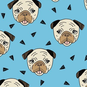 Pugs - Soft Blue by Andrea Lauren
