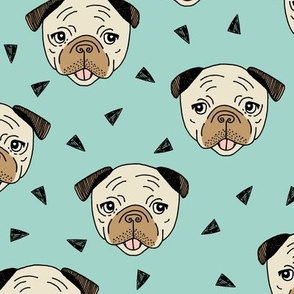 Pugs - Pale Turquoise by Andrea Lauren