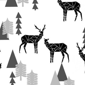 Geo Forest Deer - White and Black by Andrea Lauren