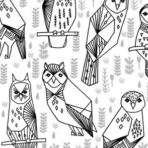 Geo Owls - Black and White by Andrea Lauren