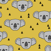 Koala Face - Mustard by Andrea Lauren