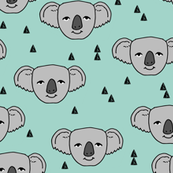 Koala Face - Pale Turquoise by Andrea Lauren