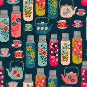 Tea Thermos - Vintage Florals by Andrea Lauren