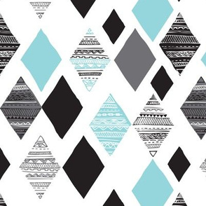 Aztec winter blue geometric diamond fabric