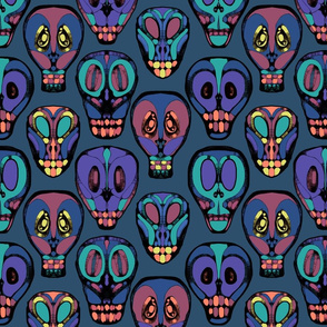 wall of skulls in color