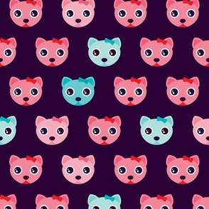 Violet sweet kitten pink cat illustration pattern