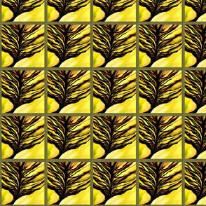 Autumn Tree on Yellow, Brown & Black