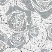 Retro Rose Grey White