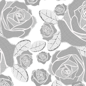 Retro Rose Grey White