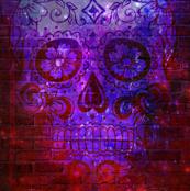red blue lavender sugar skull pattern
