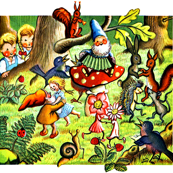 vintage gnomes children forest squirrels rabbits mouse porcupines flowers fairy birds snails strawberry ladybirds dwarfs dancing music party girls boy