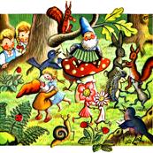kids gnomes children forest squirrels rabbits mouse porcupines flowers fairy birds snails strawberry ladybirds dwarfs dancing music party girls boy