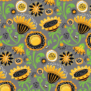 Fun Floral_Yellow Gray Black_Main_12inch
