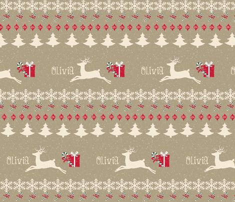 Rain deer Candy Cane snow -cream puff-personalized fabric by ...
