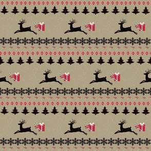 Rain deer Candy Cane Snowing-charcoal