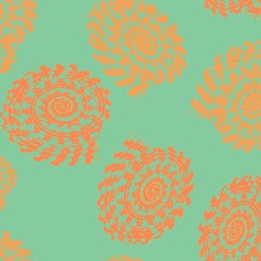 Shells in coral orange teal