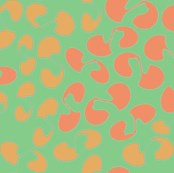 Scatterprint coral green