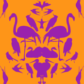 Bird Damask- Orange/Purple