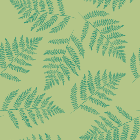 green-gold ferns, counterchanged