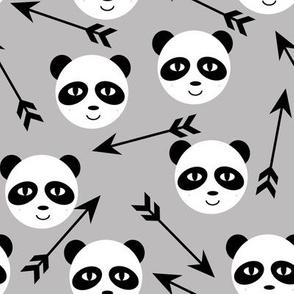 panda and arrows slate silver minimal monochrome kids swedish trendy design