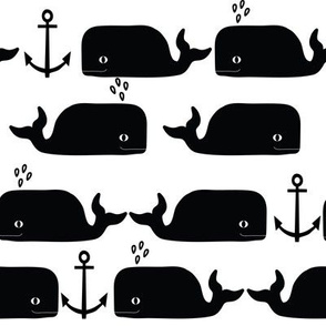 whales anchor nautical black and white anchor trendy summer minimal monochrome design for black and white nursery