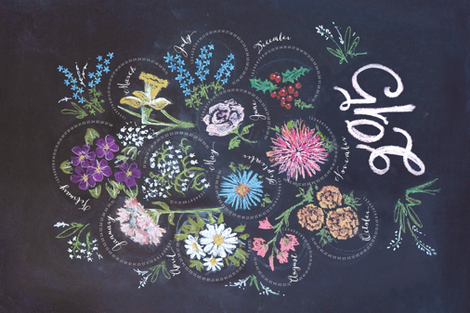 chalkboard flower-of-the-month