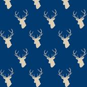 Navy and Tan Deer SIlhouette