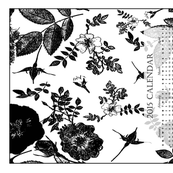 2015 Calendar Tea Towel Black and White Roses