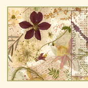 2015 Calendar Tea Towel Birds and Flowers