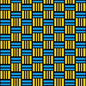 Basket Weave Blue Yellow