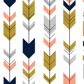 Fletching arrows // gold/coral/navy/light grey