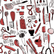 utensils red