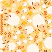 lovely lambs on yellow