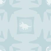 Light Blue & White Dinosaur Tribal Pattern