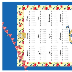 Bluebirds and Bunting 2015 calendar  tea towel