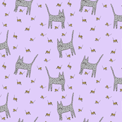 Mice Cat Purple Background